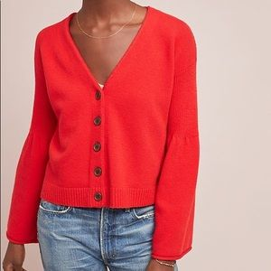 NWT Moth Red bell Sleeved Cardigan Anthropologie L
